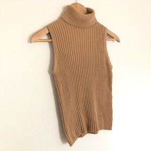Vintage Express cream sleeveless Turtleneck